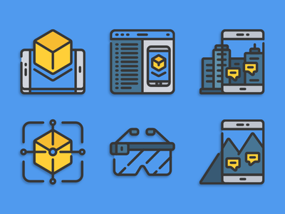 Augmented reality icons ar illustration icons pack iconset icons design icons icon designs designer