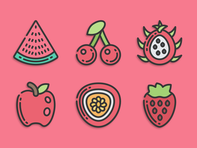 Fruit icons fruit illustration icons pack iconset icons design icons icon designs designer