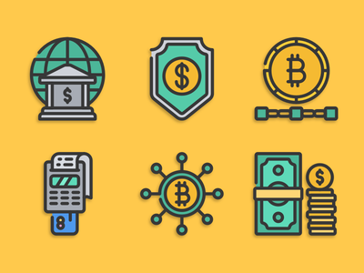 Fintech icons fintech bitcoin illustration icons pack iconset icons design icons icon designs designer