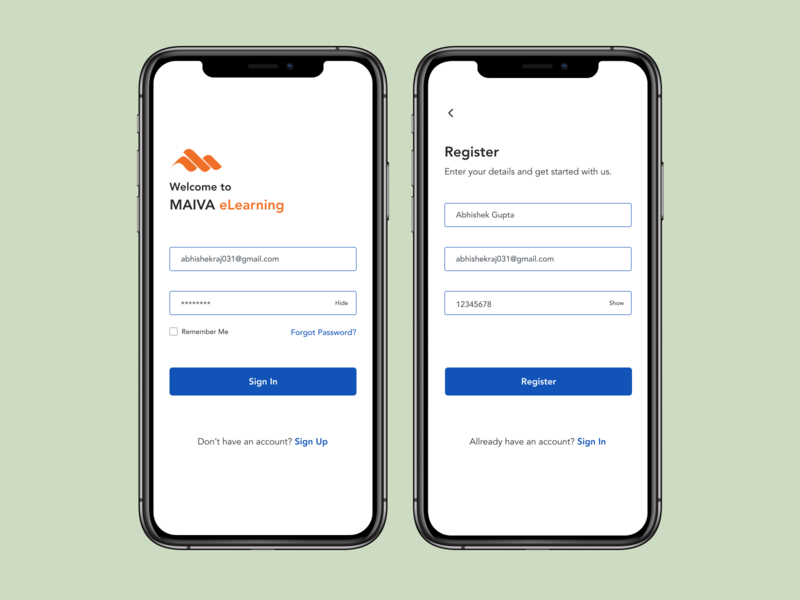 Login signup Screen login design elearning app mobile app design uidesign login screen login page