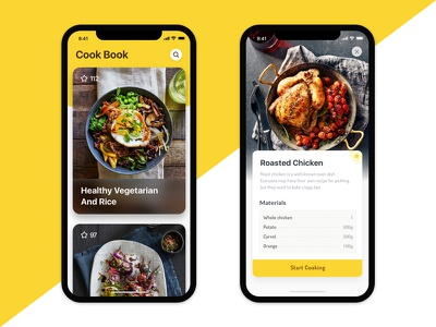 Cook Book App Design cooking cooking instruction menu cook book cook food app food yellow interface iphone x ui ios