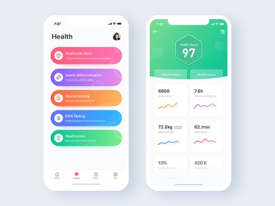 Heather App ux ui graph data list iphonex interface health sports app