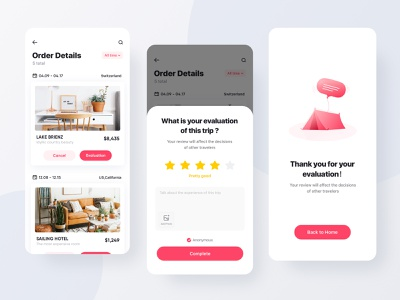 Hotel Evaluation reviews score star illustration completion page white clean card pink dribbble iphonex travel booking app ui design