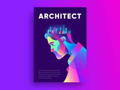 Architect purple colorful graphic gradient design design color poster