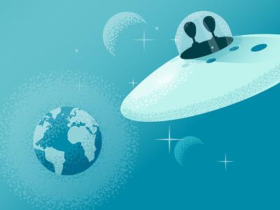 Earthday space earth ufos ufo earthday aliens illustration vector