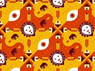 Geometric Africa Pattern geometric design geometic dribbbleweeklywarmup weekly warm-up weeklywarmup 2d illustration african africa lion flatdesign pattern vector