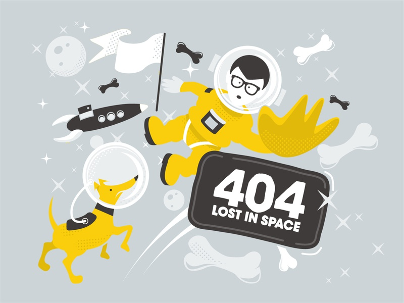 Lost In Space 404 Page danger dog astronaut space 404 error page 404 error design 2d illustration vector