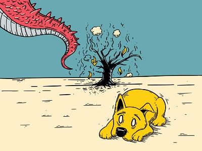 Ash Inktober19 tree burnt vectober ink vector dog illustration inktober2019 inktober fear aftermath ash dragon dog