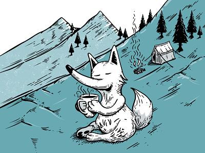Wild Fox Inktober2019 mountain hillside wilderness camping inktober2019 inktober vectober ink fox wild