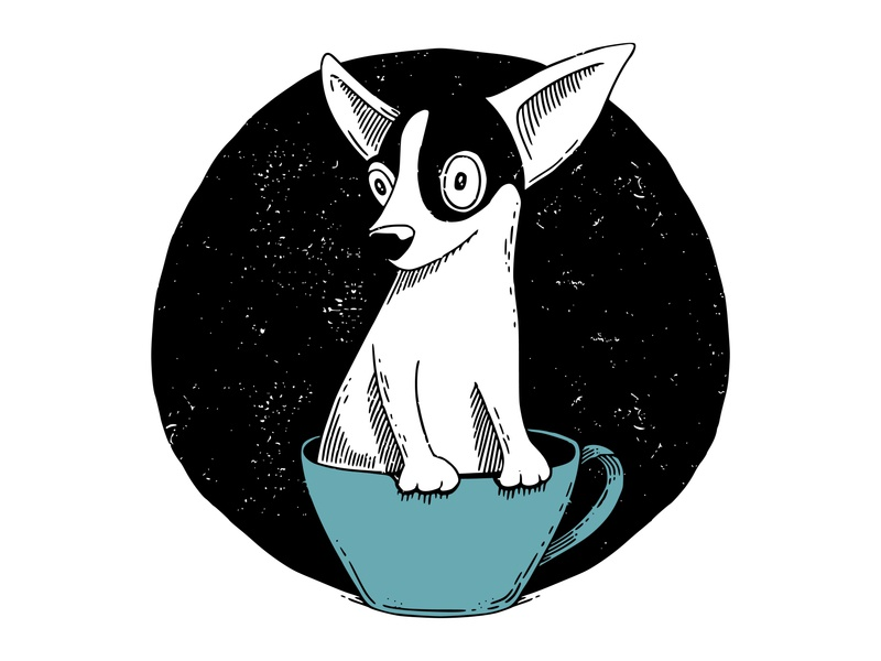 Teacup Chihuahua 2d vector dog miniature chihuahua teacup ornament inktober2019 vectober inktober ink