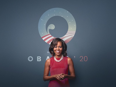 Michelle Obama 2020 campaign logo flag barack woman 2020 usa elections trump donald obama michelle logo