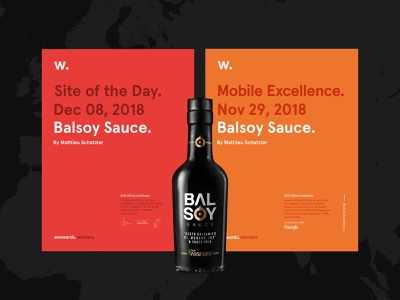 Balsoy is SOTD on Awwwards. wine vinegar balsamico soy sauce certificate awards mobile excellence mobile sauce balsoy sotd site of the day awwwards