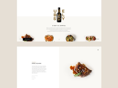 Balsoy recipes pages design landing page grid layout food meat balsamico vinegar soy sauce bottle minimal clean one page