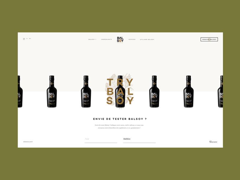 Test Balsoy ? grid dark packaging vinegar soy sauce balsoy illustration centered bottle design minimal clean website