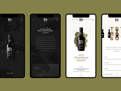 Balsoy responsive single page ux  ui ux clean minimal soy sauce vinegar bottle packaging illustration dark grid layout iphone xr iphone x iphone mobile responsive balsoy