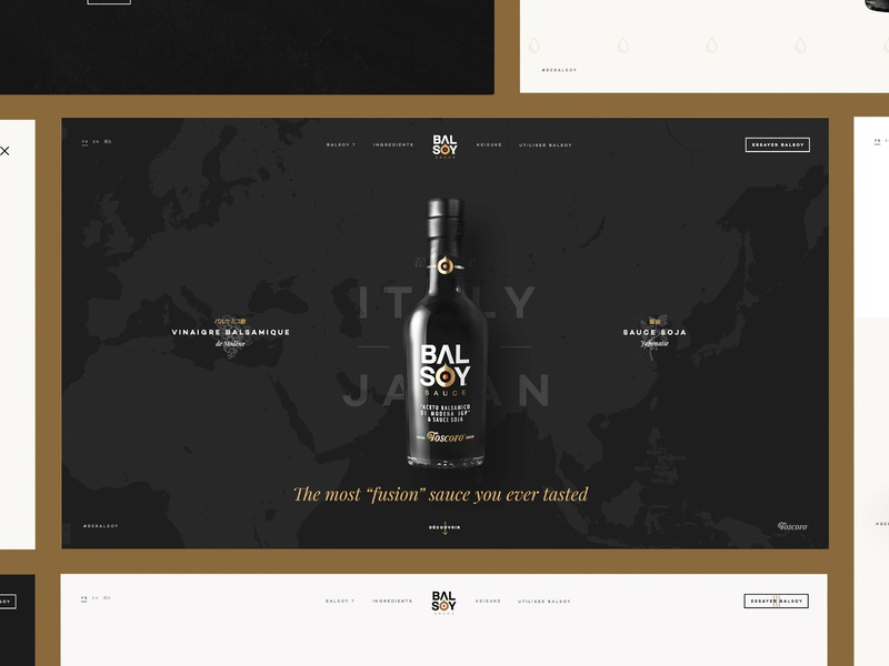 Balsoy case on Behance home balsamic vinegar soy sauce bottle minimal map clean simple grid dark landing page homepage balsoy behance