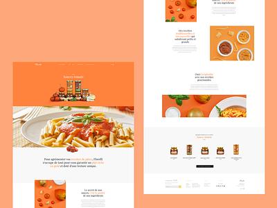 Florelli collection landing page layout grid clean minimal sauce pasta red orange colorful ui ux web food italian tomato sauce tomato florelli collection landing page