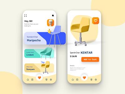 Furniture app app ui uidesign ux mobile ui muted colors 3d illustration app design furniture design furniture app