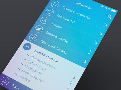 UI Design  ui iphone ios7 categories subcategories