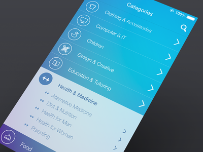 UI Design  ui iphone ios7 categories subcategories