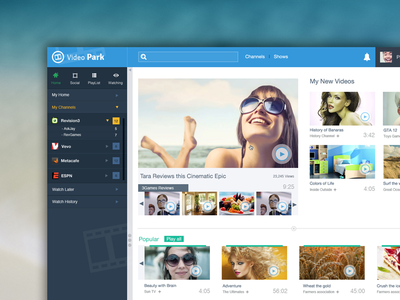 Videopark dashboard ui ux design video gallery images psd movies