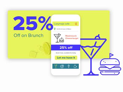 Brunch brunch deals offers food breakfast wine burger yellow ui design mobile