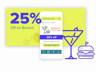 Brunch brunch deals offers food breakfast wine burger yellow ui design mobile