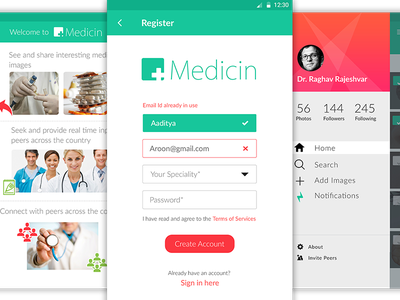 App for medical industry  notifications image search profile password sidebar error signup login health medical