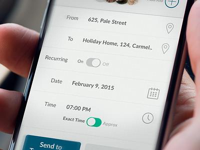 Request screen 2  kit calendar share green toggle time date ui