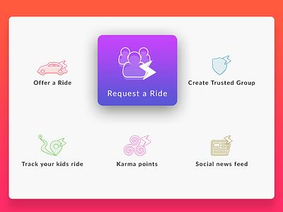 Daily UI  feed shield car social karma blue ui daily ride icons