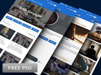 Social network UI design Free PSDs connections gallery profile network social files photoshop psd freebies free