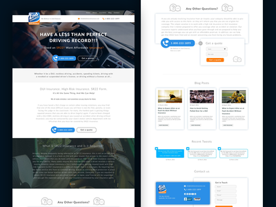 Final design for Insurance Website  landing page banner feed twitter quote blog contact form image ui insurance design website