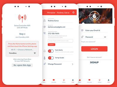 Flameboss iOS app splash setup onboarding wifi notifications flame grill food mobile app ios