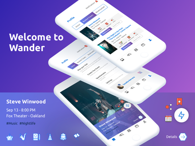 Wander App for Events share city party events ux ui mobile