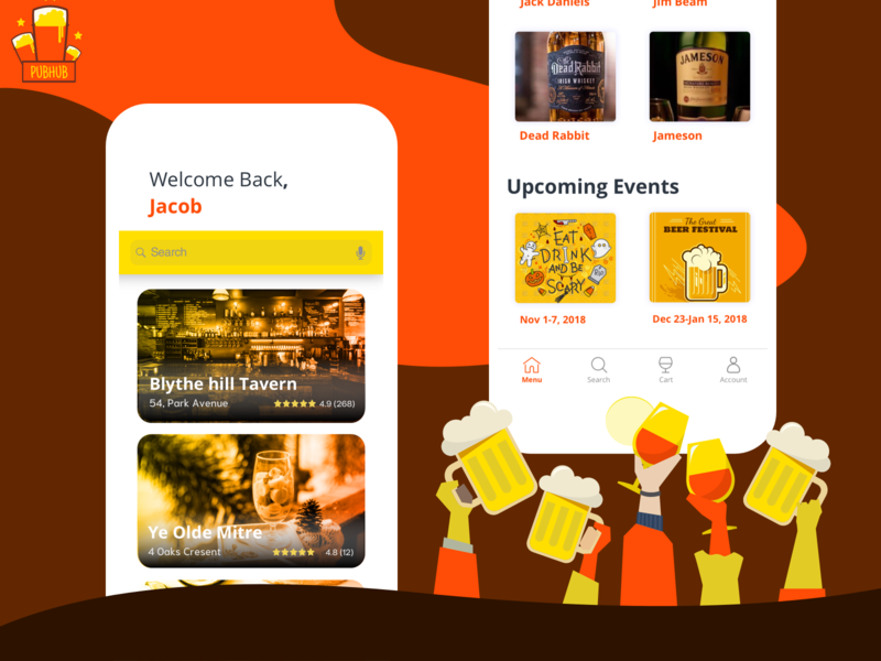 PubHub In-Pub Drink ordering app restaurants beer pubs events ui  ux design mobile ui illustrations drink app animation app