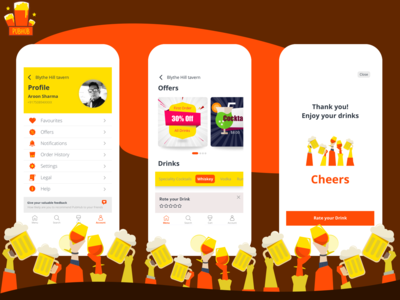PubHub Profile payment order list offers favorites profile restaurants events pubs beer social app mobile ui