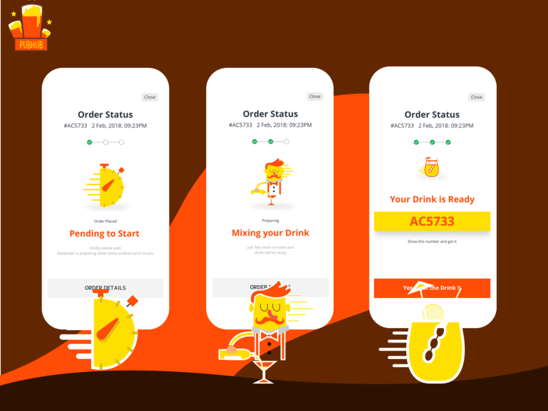 PubHub Order status vector illustration design app mobile ui order details order food order confirmation clock chef cafe drinks pub statusbar progressbar drink status order