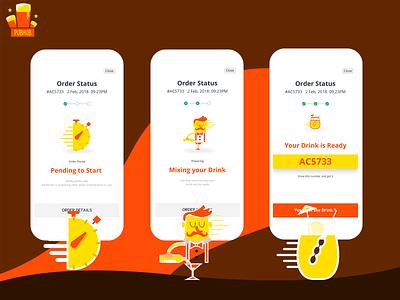 PubHub Order status vector illustration design app mobile ui order details order food order confirmation clock chef cafe drinks pub statusbar progressbar drink status order