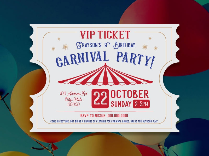 Carnival Birthday Invitation By Charlotte Saul