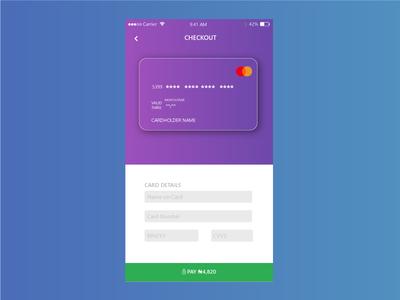 Debit Card Checkout concept page