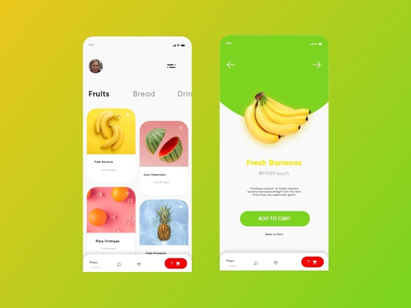 Grocerly - Grocery Shopping App [Concept Design] design grocery fruit concept ui geometric