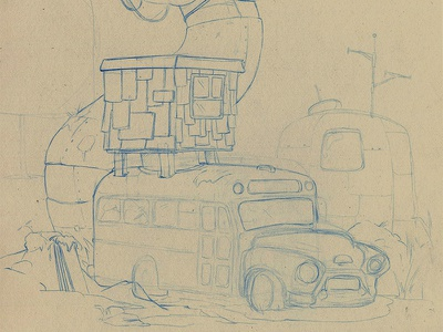 WIP drawing wip illustration sketh sketchbook concept bus pencil layout