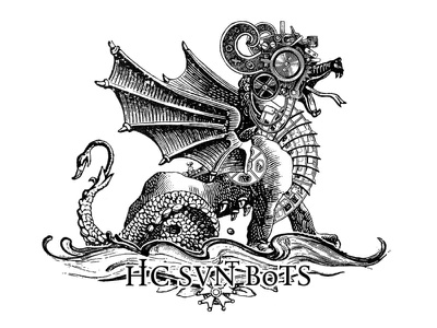 Mechanical beast logotipe steampunk dragon crest logo crest art ink logo digital engraving collage illustration