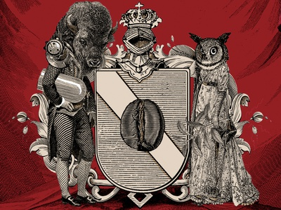 Coffee Shop Logo engraving ink victorian crest crest logo art design logo collage illustration