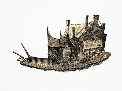 Snail digital art ink engraving character collage illustration