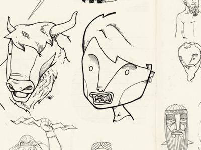 Sketch book for a rol cards card game minotaur medusa greek mythology zeus god sketch handbook illustration