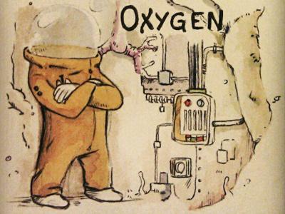 Mr. Oxygen sketchbook illustration watercolor sketch pen bubble character art book children