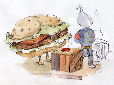 Characters for the stomach art sketch sketchbook watercolor hand burguer fireman