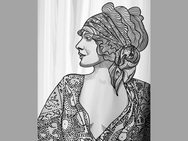 Vera portrait dots white lines grey digital black digital 2d procreate app ipad pro graphic design design character art concept illustration