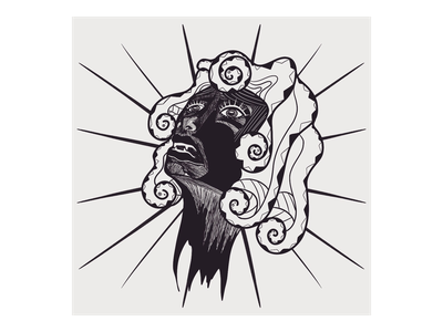 Medusa (Frail) lines black digital 2d procreate app ipad pro design character art concept illustration